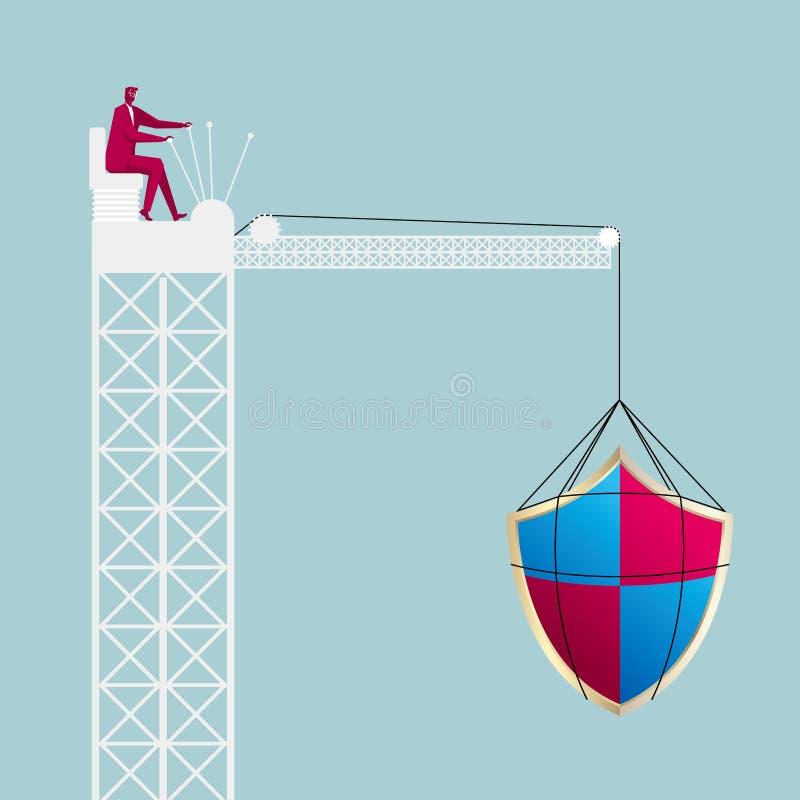 Simbolo di sollevamento del software antivirus tramite la gru a torre Uomo d'affari che guida una gru a torre illustrazione vettoriale