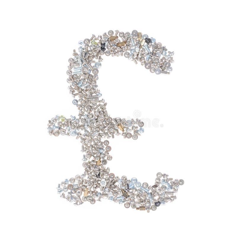Simbolo di sterlina fatto dai dadi - e - bulloni, isolati su fondo bianco immagini stock