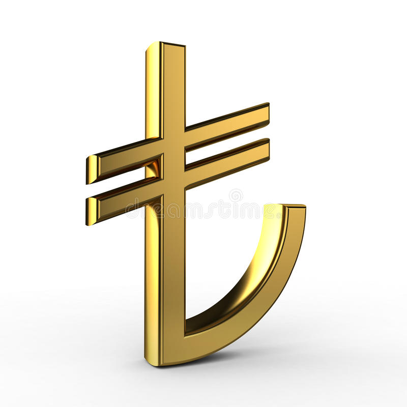 simbolo di TL dell'oro 3d royalty illustrazione gratis