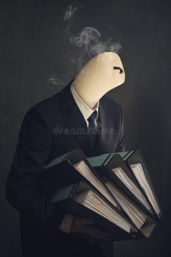 Simbolo di un impiegato con la sindrome di burnout immagine stock libera da diritti