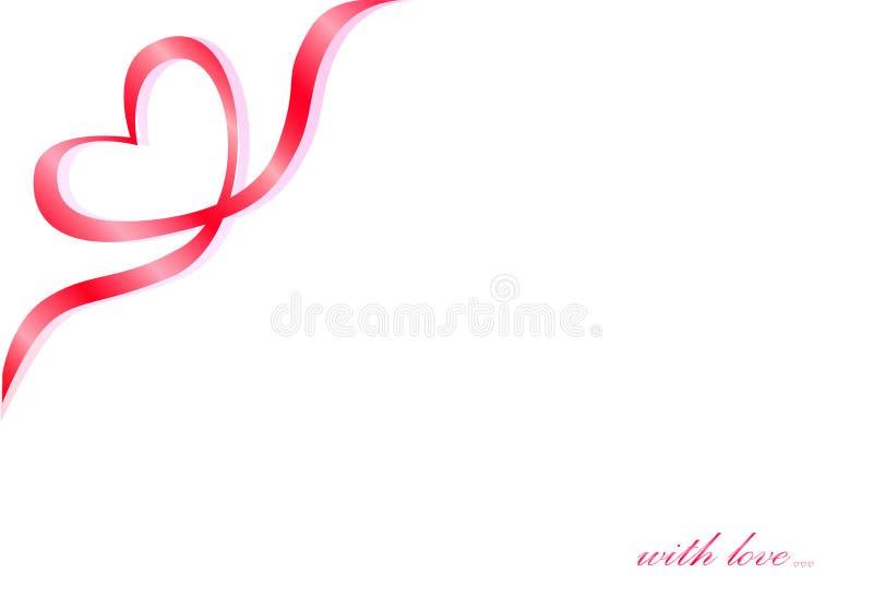 Simbolo di un nastro rosso nell'angolo su un fondo bianco, testo del cuore con amore, orizzontale illustrazione di stock