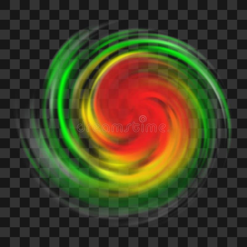 Simbolo di uragano con l'indicazione di intensità su fondo trasparente scuro illustrazione vettoriale