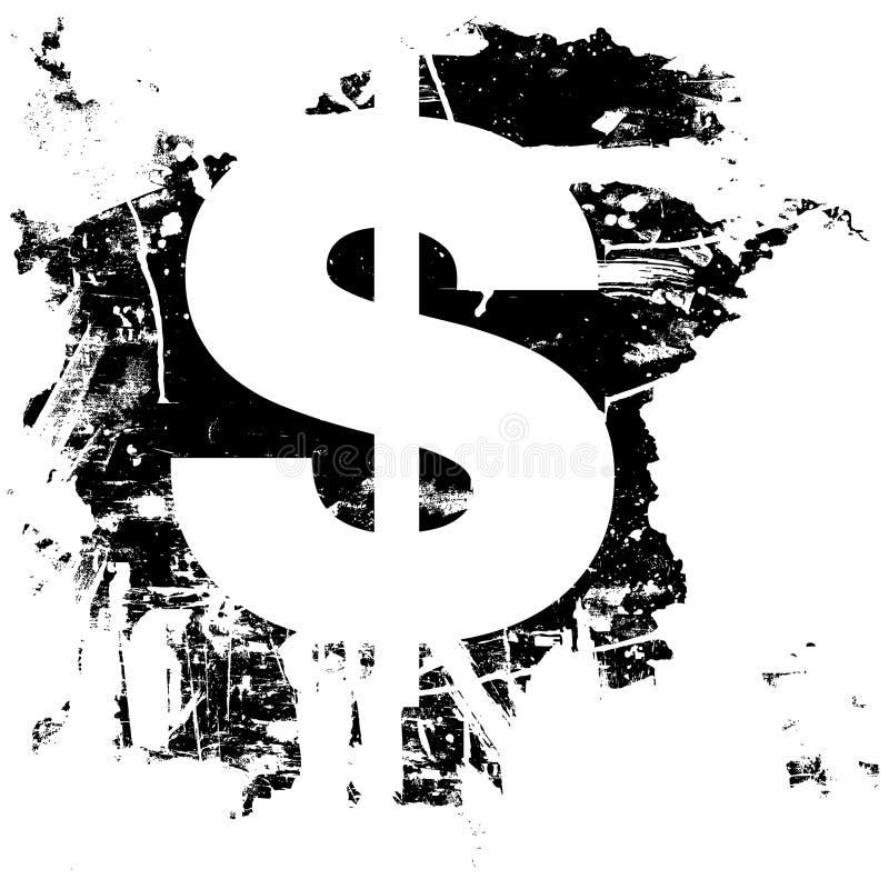 Simbolo Di Valuta Del Segno Del Dollaro Di Grunge Fotografia Stock Libera da Diritti