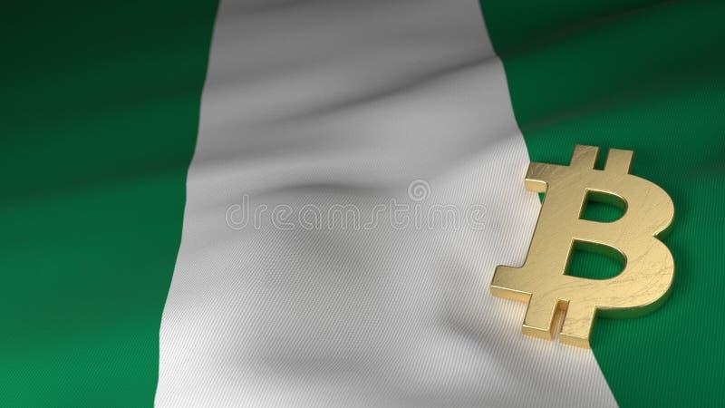 Simbolo di valuta di Bitcoin sulla bandiera della Nigeria illustrazione vettoriale