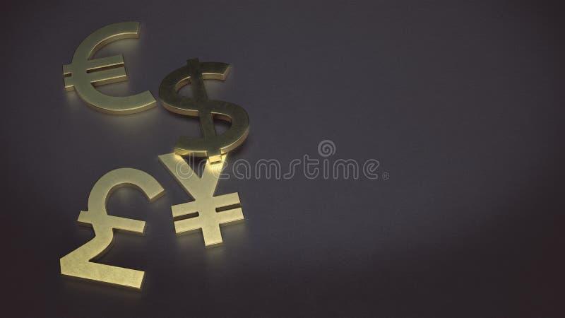 Simbolo di valuta dorato del dollaro, dell'euro, di Yen e della sterlina sui precedenti di cuoio illustrazione di stock