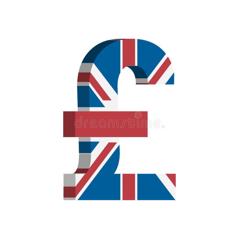 Simbolo di valuta di GBP della libbra britannica con la bandiera - vettore illustrazione di stock