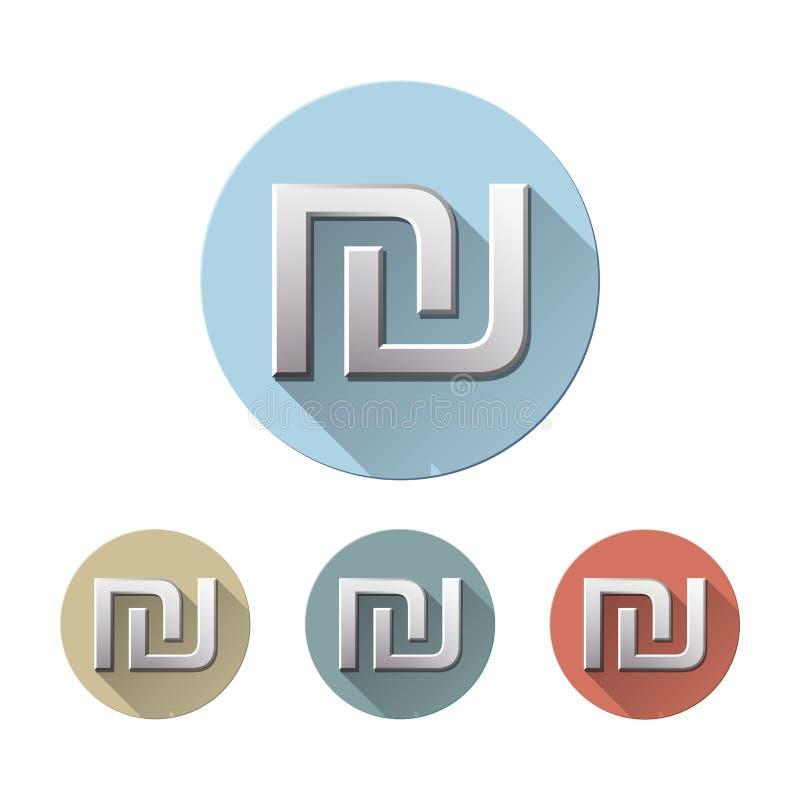 Simbolo di valuta israeliano dello shekel illustrazione di stock
