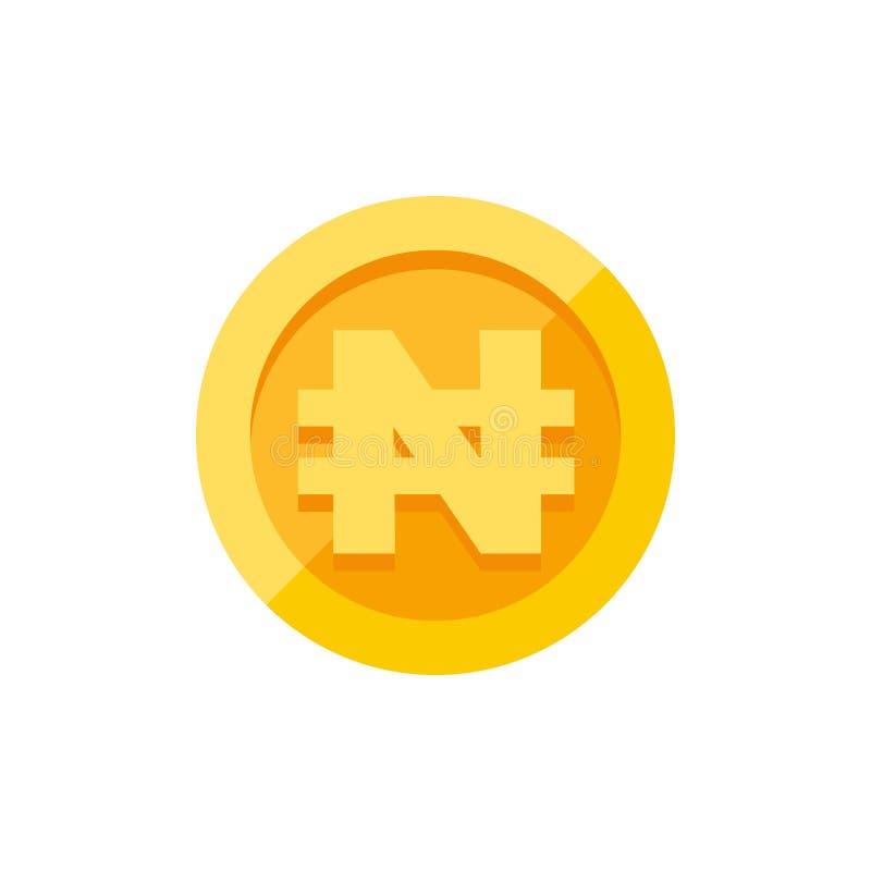 Simbolo di valuta nigeriano di naira su stile piano della moneta di oro illustrazione vettoriale