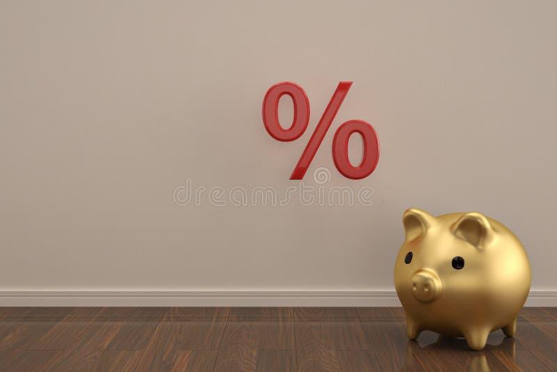 Simbolo di vendita e del porcellino salvadanaio sull'illustrazione di legno del pavimento 3D illustrazione di stock