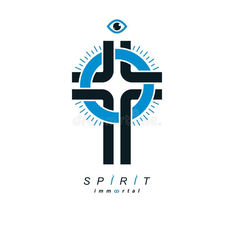 Simbolo di vettore di Christian Cross, icona di religione di Dio di Cristianità illustrazione vettoriale