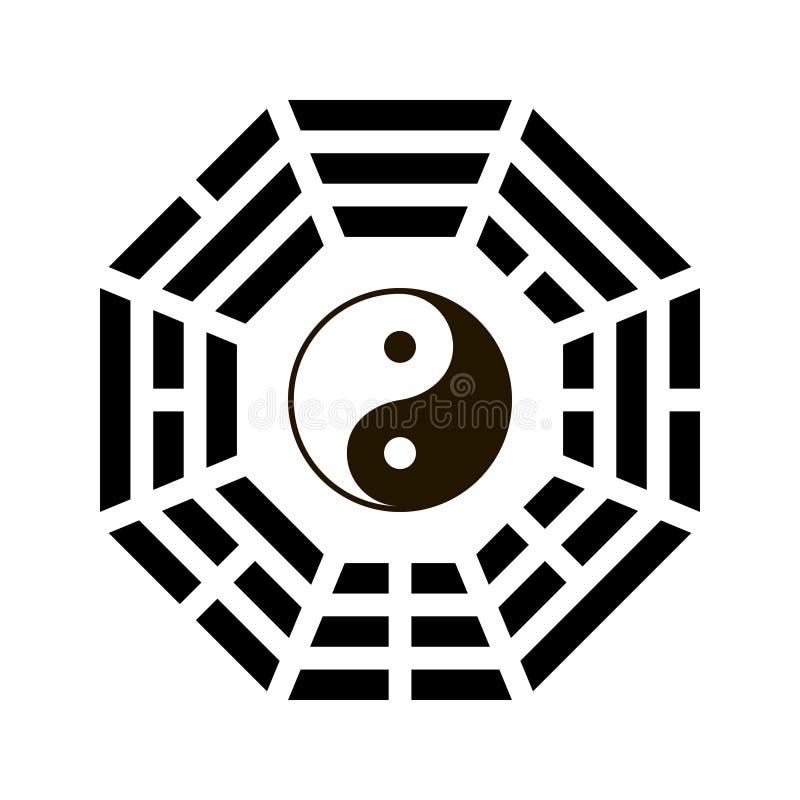 Simbolo di yang e di Yin con la disposizione di bagua illustrazione di stock