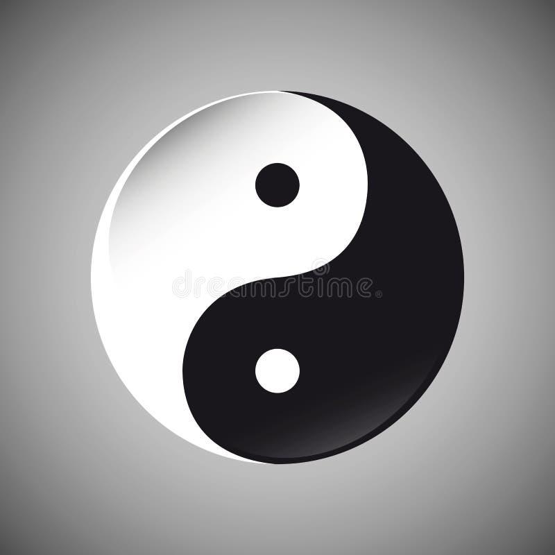 Simbolo di Yin Yang in bianco e nero illustrazione di stock