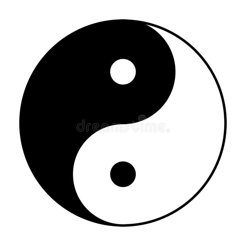 Simbolo di Yin Yang in bianco e nero royalty illustrazione gratis