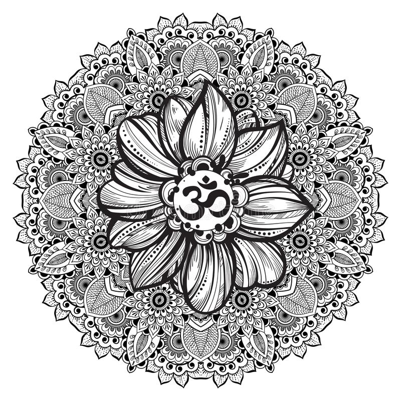 Simbolo disegnato a mano di ohm, segno spirituale OM di Diwali dell'indiano Fiore di Lotus e mandala decorata intorno Alta illust royalty illustrazione gratis
