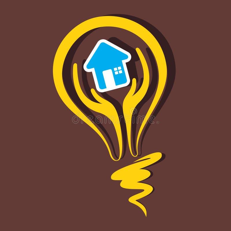 Simbolo domestico in lampadina illustrazione vettoriale
