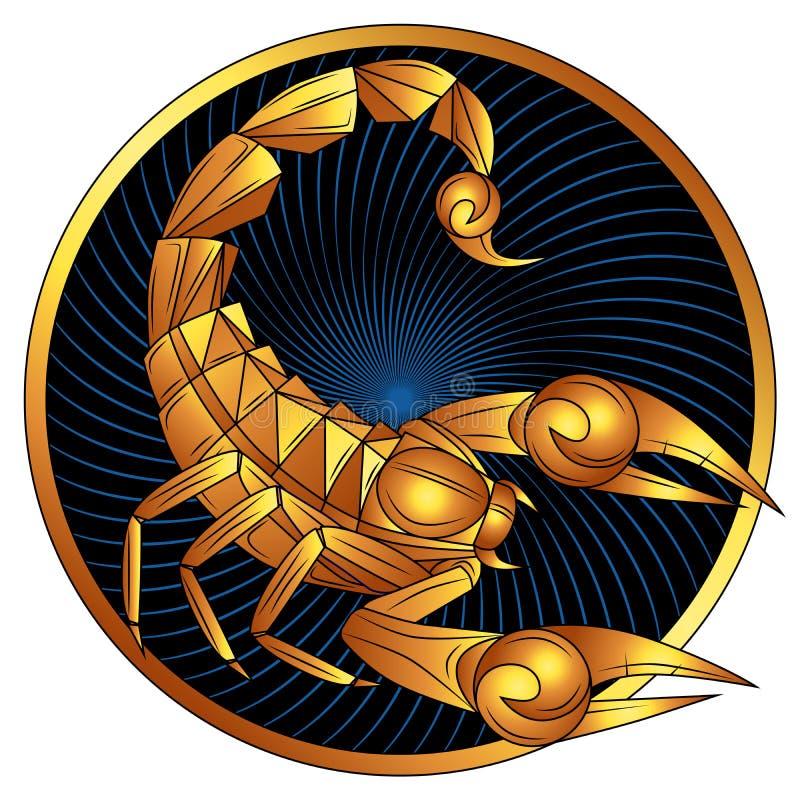Simbolo dorato dell'oroscopo di vettore del segno dello zodiaco di scorpione immagini stock libere da diritti