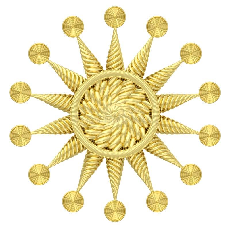 Simbolo dorato della stella isolato su fondo bianco illustrazione vettoriale