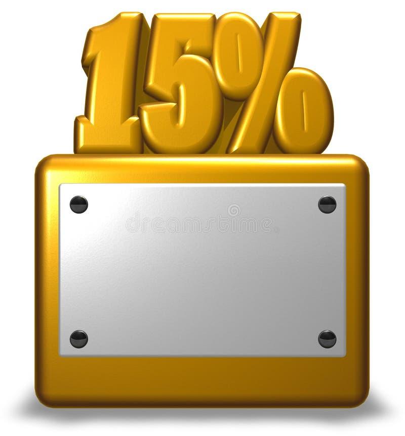Simbolo dorato delle percentuali e di numero illustrazione di stock