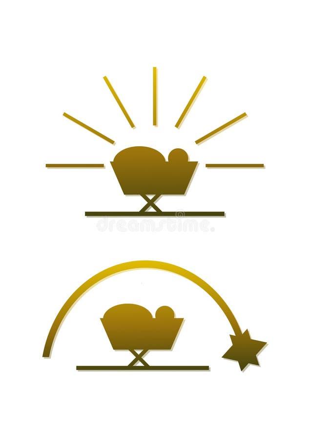 Simbolo dorato semplice di natività (imposti) royalty illustrazione gratis