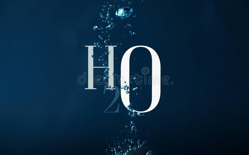 Simbolo e bolle di chimica di H2o immagini stock libere da diritti
