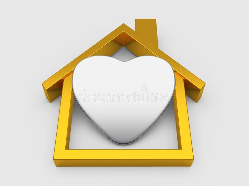 Simbolo e cuore della Camera dell'oro illustrazione di stock