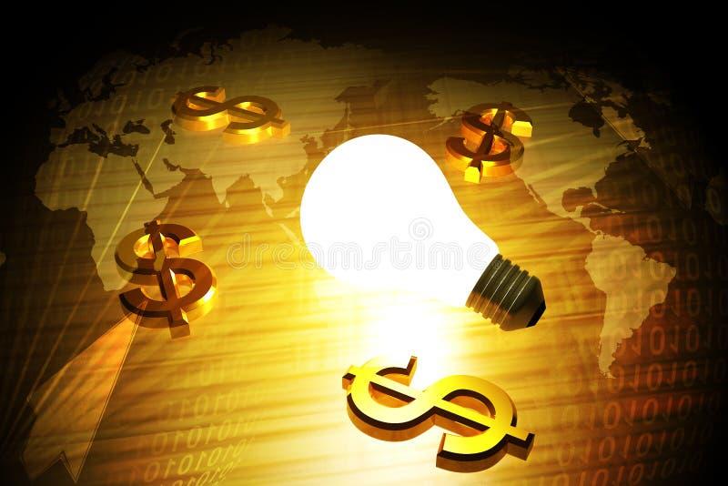 Simbolo e lampadina del dollaro illustrazione vettoriale