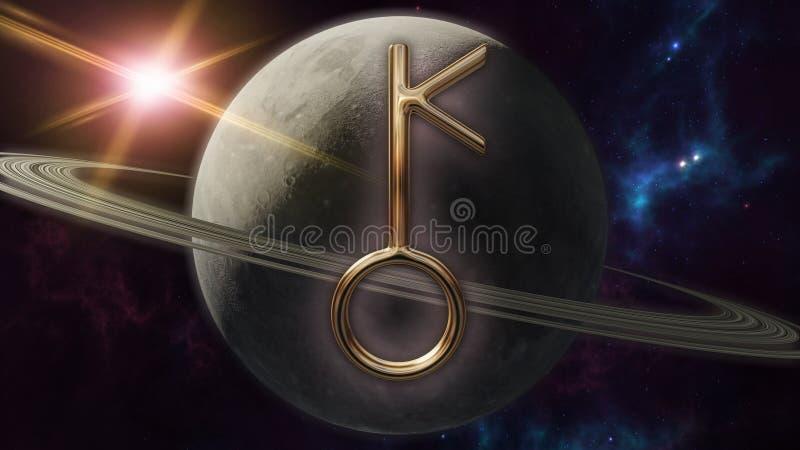 Simbolo e pianeta dell'oroscopo dello zodiaco di Chiron rappresentazione 3d illustrazione di stock
