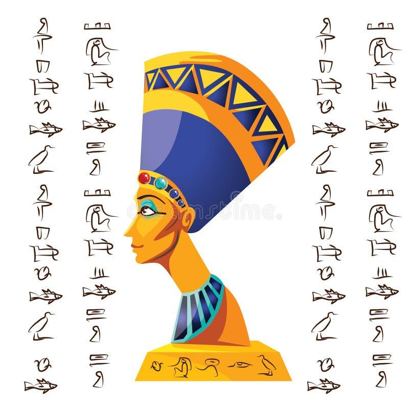 Simbolo egiziano della cultura, statua di Nefertiti illustrazione vettoriale