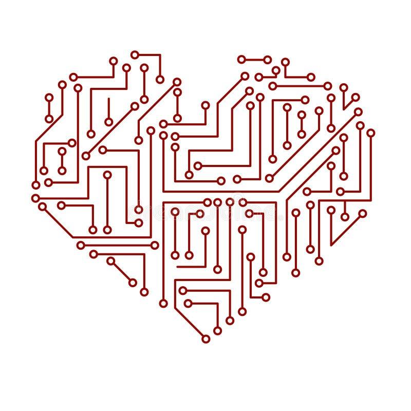 Simbolo elettrico stampato eps10 del cuore del circuito royalty illustrazione gratis
