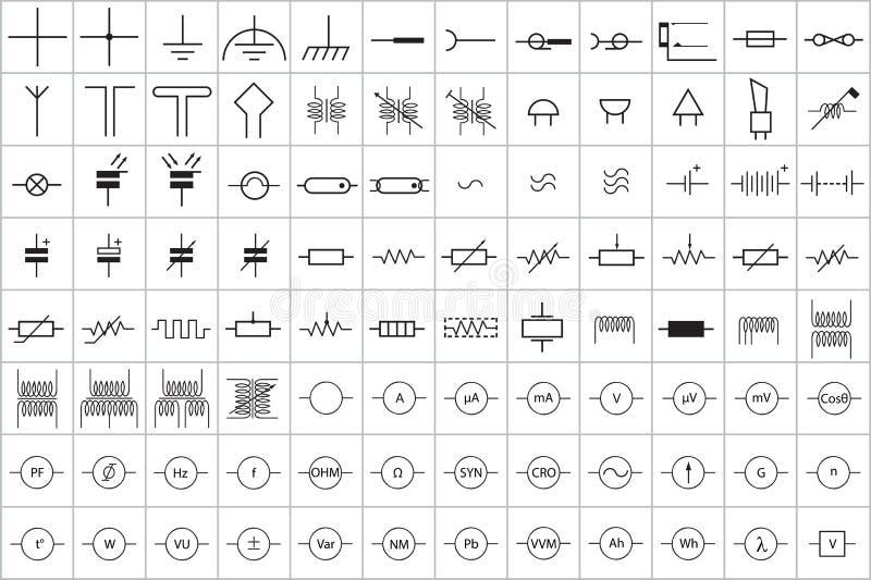 96 simbolo elettronico ed elettrico v 1 illustrazione vettoriale