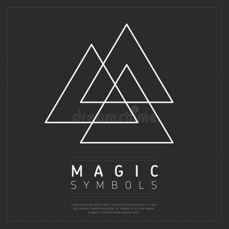 Simbolo esoterico dei triangoli bianchi illustrazione vettoriale