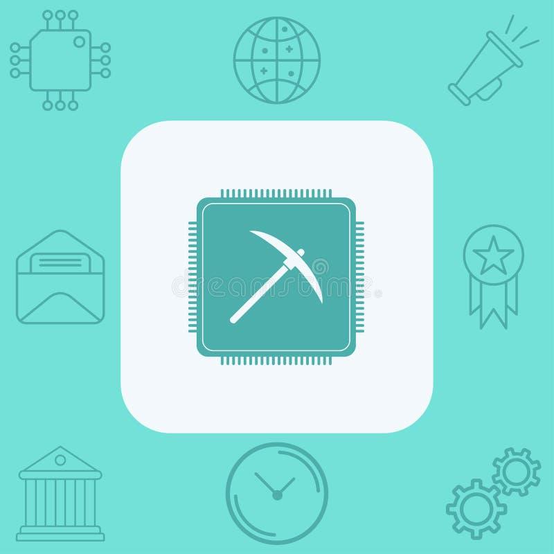 Simbolo estraente del segno dell'icona di vettore del CPU illustrazione vettoriale