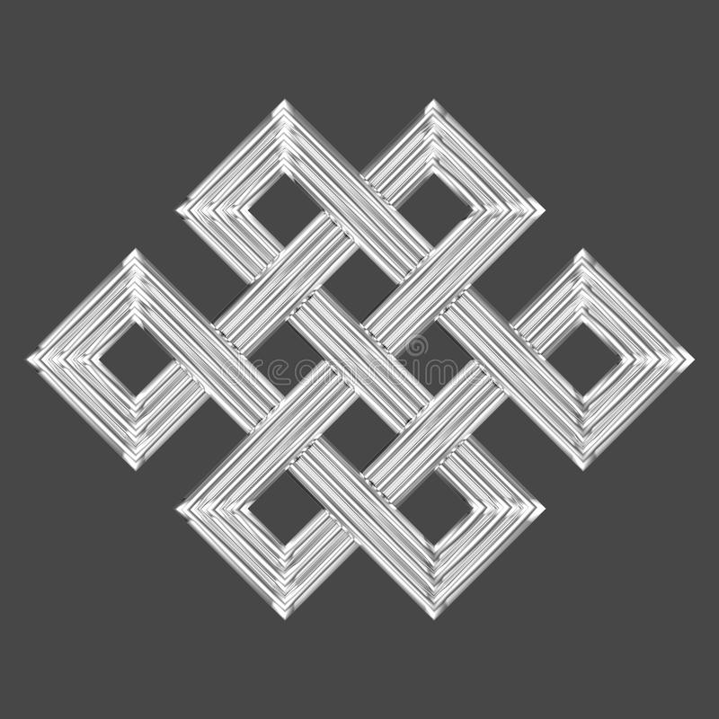 Simbolo eterno d'argento di incanto del nodo illustrazione di stock