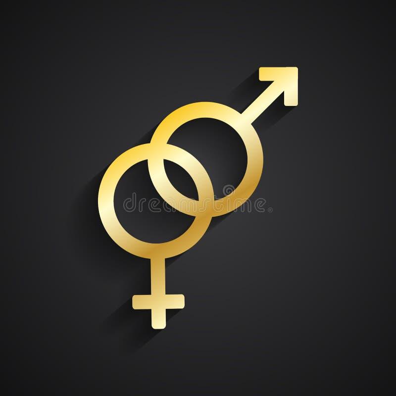 Simbolo eterosessuale dell'oro royalty illustrazione gratis