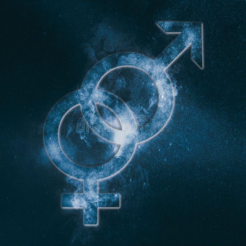Simbolo eterosessuale Segno eterosessuale Backg astratto del cielo notturno illustrazione vettoriale