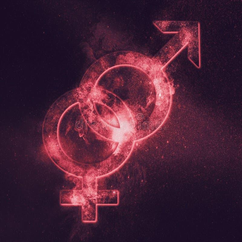 Simbolo eterosessuale Segno eterosessuale Backg astratto del cielo notturno royalty illustrazione gratis