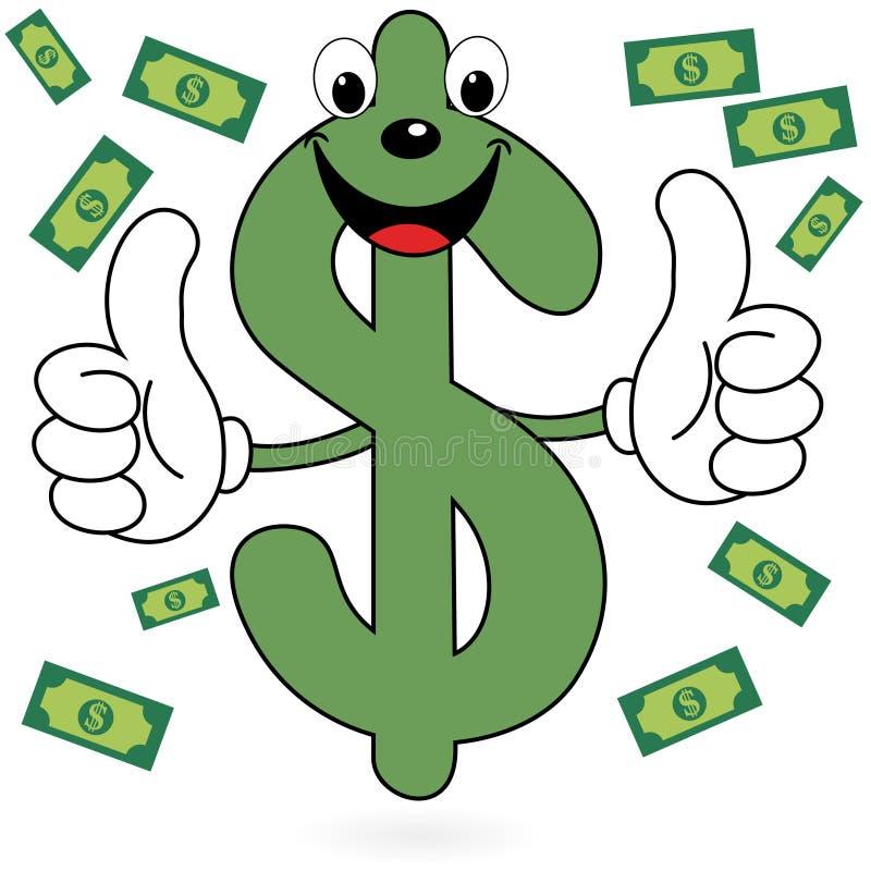 Simbolo felice del dollaro illustrazione vettoriale