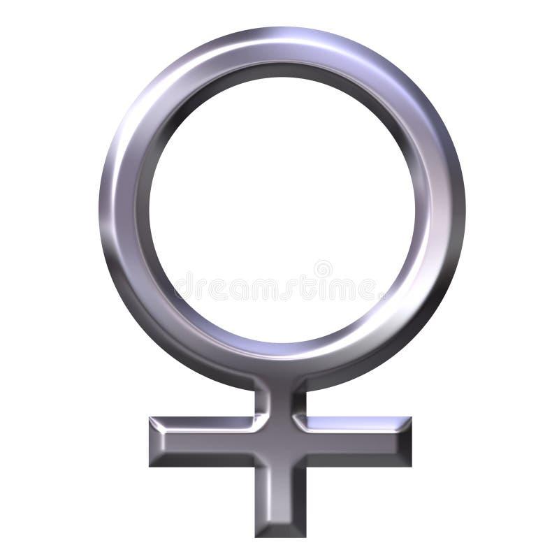 simbolo femminile d'argento 3D illustrazione di stock
