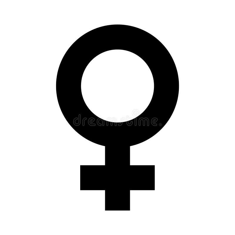 Simbolo femminile nella progettazione semplice di colore del nero del profilo Segno femminile di genere di vettore di orientament illustrazione vettoriale