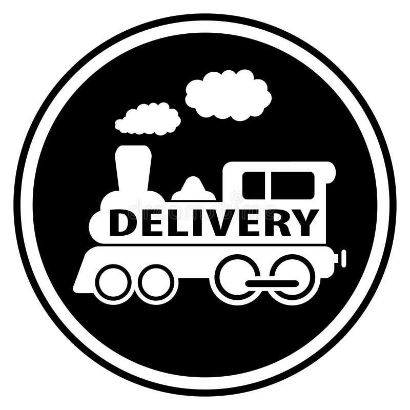 Simbolo ferroviario di consegna con il treno illustrazione vettoriale