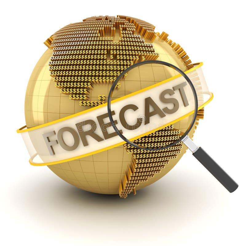 Simbolo finanziario globale di previsione con il globo, 3d royalty illustrazione gratis