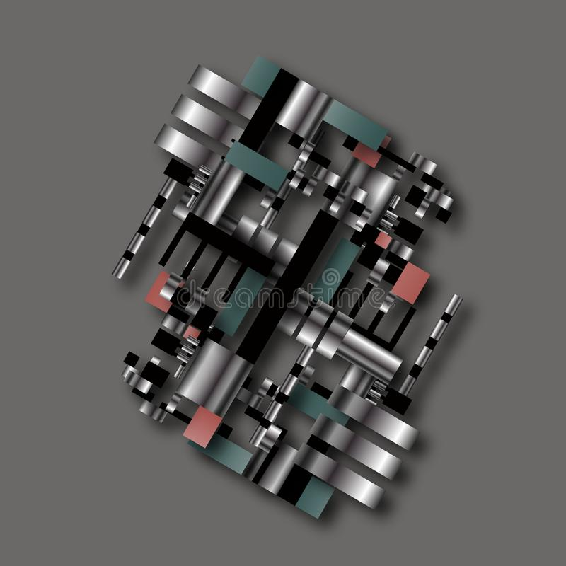 Simbolo fittizio scientifico educativo di schema dell'insieme della fabbrica tecnologica industriale geometrica di ingegneria di  illustrazione vettoriale