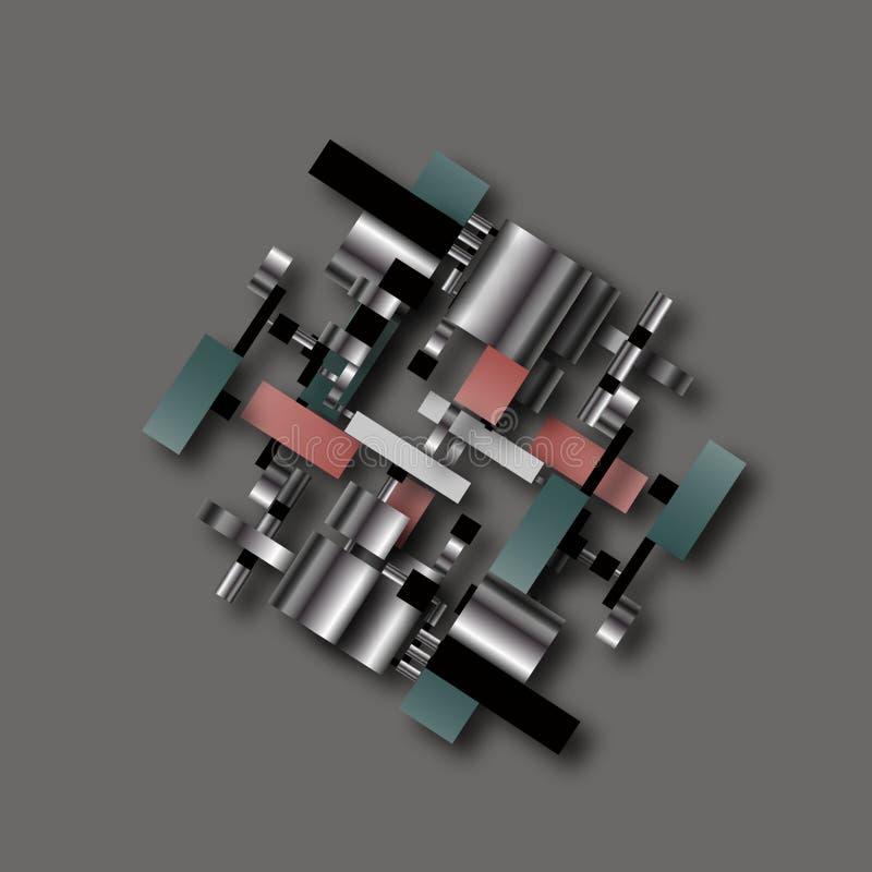 Simbolo fittizio scientifico educativo di schema dell'insieme della fabbrica tecnologica industriale geometrica di ingegneria di  illustrazione di stock