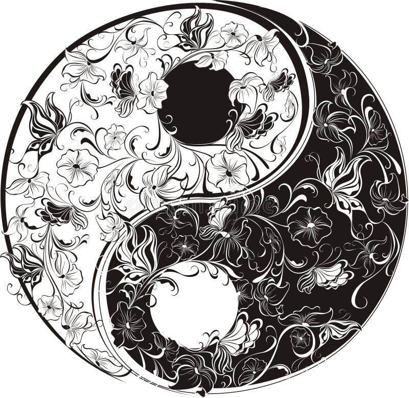 Simbolo floreale di Yin Yang illustrazione di stock