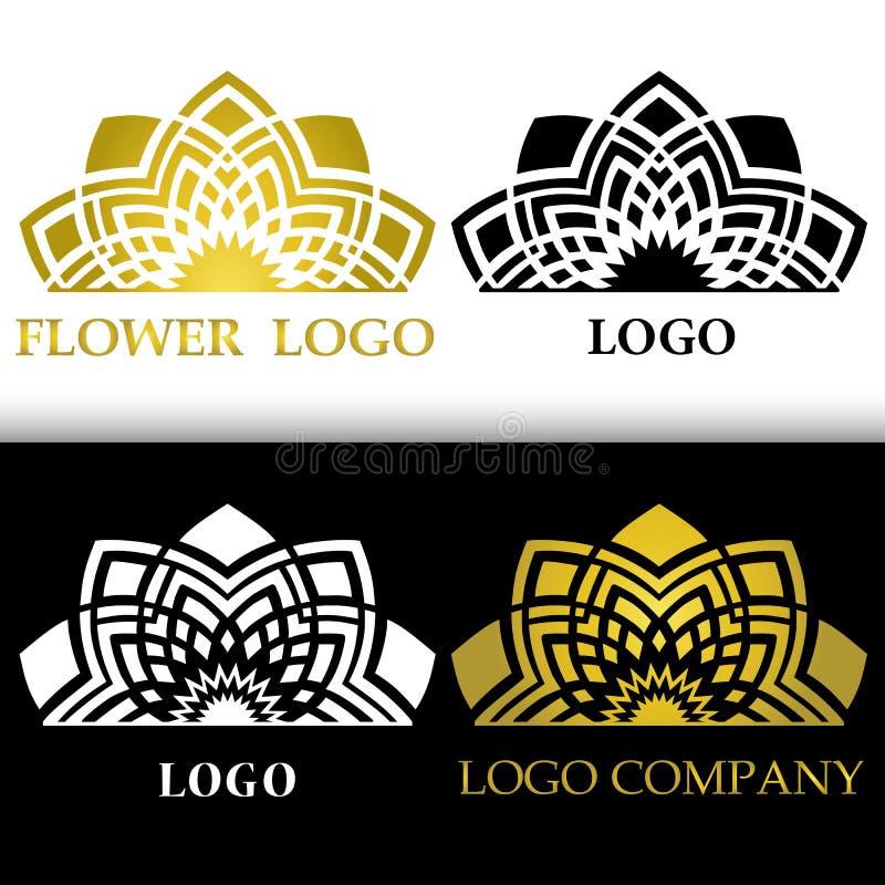 Simbolo floreale stilizzato del grafico di vettore fiore astratto per il logo illustrazione vettoriale