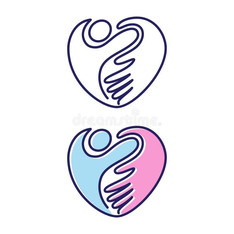 Simbolo a forma di dell'icona di amore della mano amica di vettore nello stile piano illustrazione di stock