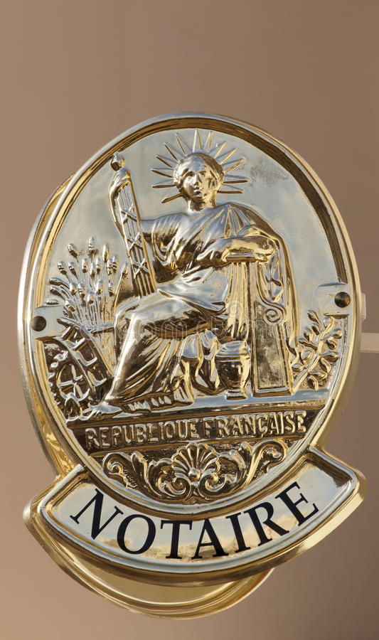 Simbolo francese dell'ufficio del notaio immagine stock libera da diritti