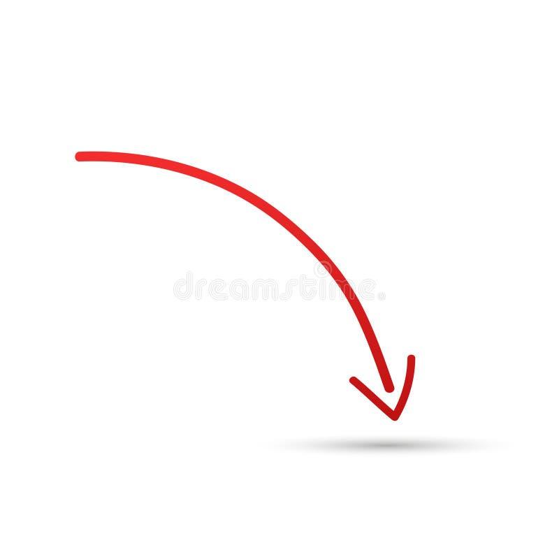 Simbolo freccia rossa, simbolo e icona per la decorazione dei pulsanti del sito o dell'ufficio in uno sfondo di luce isolata Illu fotografia stock libera da diritti