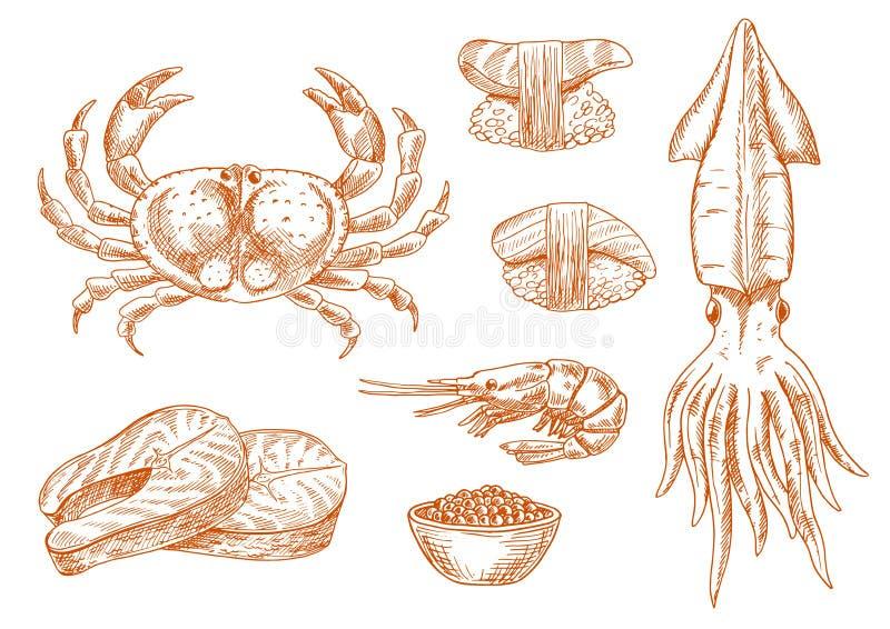 Simbolo fresco di schizzo degli ingredienti del vassoio dei frutti di mare illustrazione vettoriale