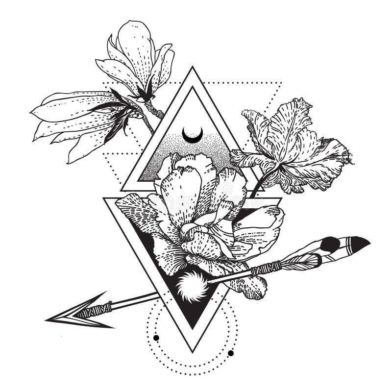 Simbolo geometrico con i fiori, luna, sole di alchemia di vettore illustrazione di stock